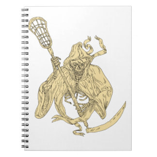 Grim Reaper Lacrosse Stick Drawing Spiral Notebook
