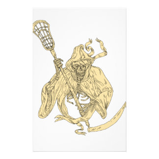Grim Reaper Lacrosse Stick Drawing Stationery