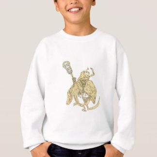 Grim Reaper Lacrosse Stick Drawing Sweatshirt