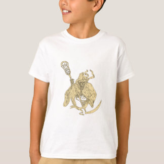 Grim Reaper Lacrosse Stick Drawing T-Shirt