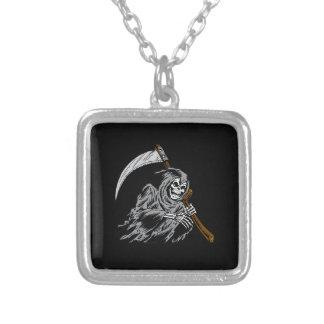 Grim Reaper Square Pendant Necklace