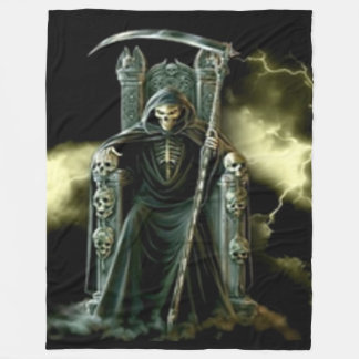 GRIM REAPER on HIS THRONE Fleece Blanket
