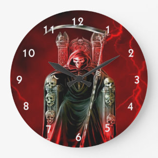 Grim Reaper On His Throne Large Clock