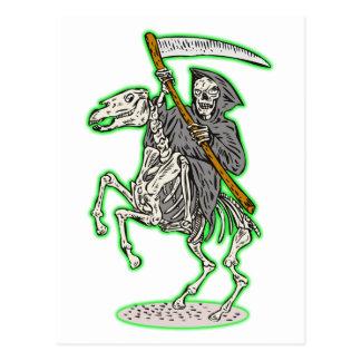 grim reaper on horse with scythe postcard