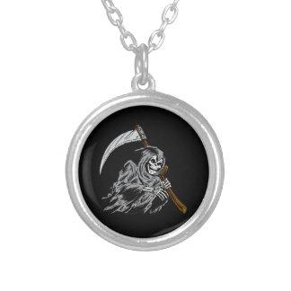 Grim Reaper Round Pendant Necklace