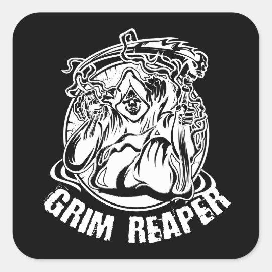 Grim Reaper Scary Halloween Square Sticker