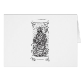 Grim Reaper Scythe Ribbon Tattoo Card