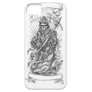 Grim Reaper Scythe Ribbon Tattoo iPhone 5 Case