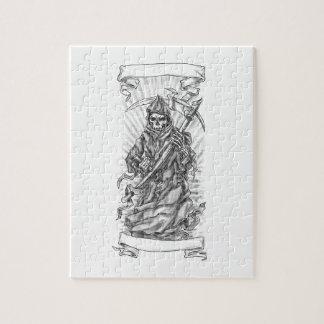 Grim Reaper Scythe Ribbon Tattoo Jigsaw Puzzle