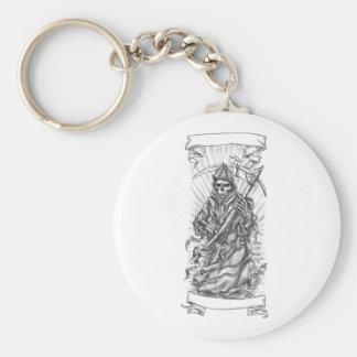 Grim Reaper Scythe Ribbon Tattoo Keychain