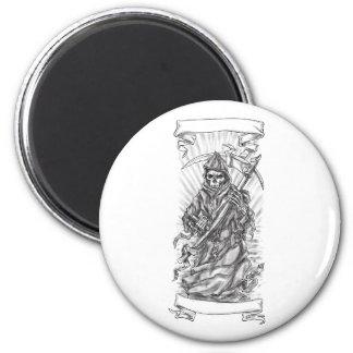 Grim Reaper Scythe Ribbon Tattoo Magnet