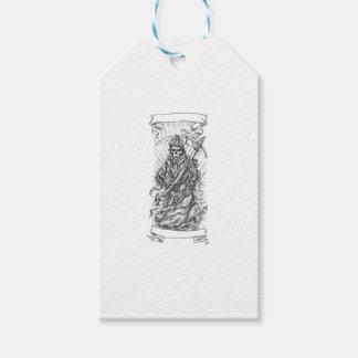 Grim Reaper Scythe Ribbon Tattoo Pack Of Gift Tags