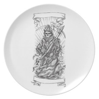 Grim Reaper Scythe Ribbon Tattoo Party Plate