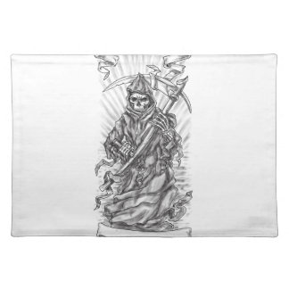 Grim Reaper Scythe Ribbon Tattoo Placemat