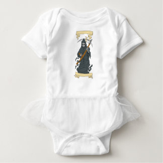 Grim Reaper Scythe Scroll Drawing Baby Bodysuit