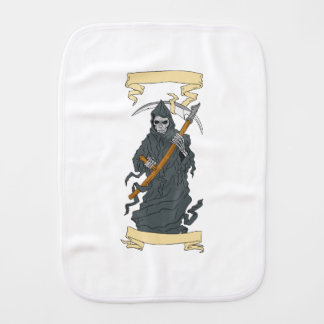 Grim Reaper Scythe Scroll Drawing Burp Cloth