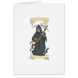 Grim Reaper Scythe Scroll Drawing Card