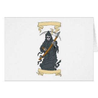 Grim Reaper Scythe Scroll Drawing Card
