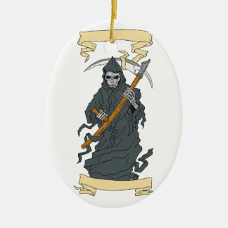 Grim Reaper Scythe Scroll Drawing Ceramic Ornament