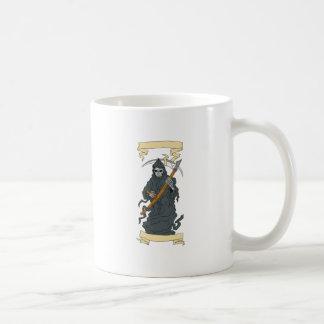 Grim Reaper Scythe Scroll Drawing Coffee Mug