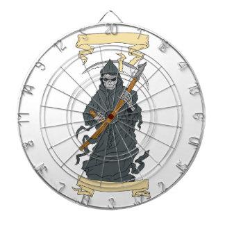 Grim Reaper Scythe Scroll Drawing Dartboard