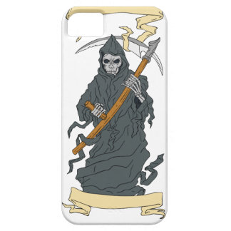 Grim Reaper Scythe Scroll Drawing iPhone 5 Cases