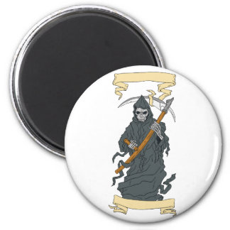 Grim Reaper Scythe Scroll Drawing Magnet