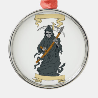 Grim Reaper Scythe Scroll Drawing Metal Ornament