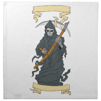 Grim Reaper Scythe Scroll Drawing Napkin