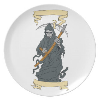Grim Reaper Scythe Scroll Drawing Party Plates