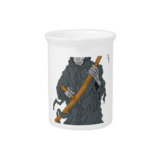 Grim Reaper Scythe Scroll Drawing Pitcher