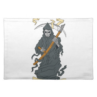 Grim Reaper Scythe Scroll Drawing Placemats