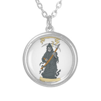 Grim Reaper Scythe Scroll Drawing Silver Plated Necklace