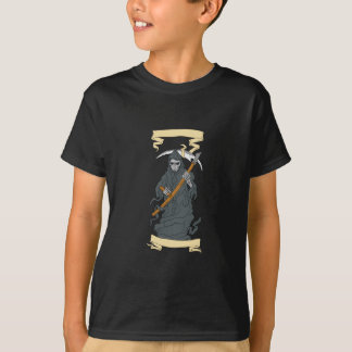 Grim Reaper Scythe Scroll Drawing T-Shirt
