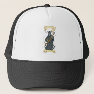 Grim Reaper Scythe Scroll Drawing Trucker Hat