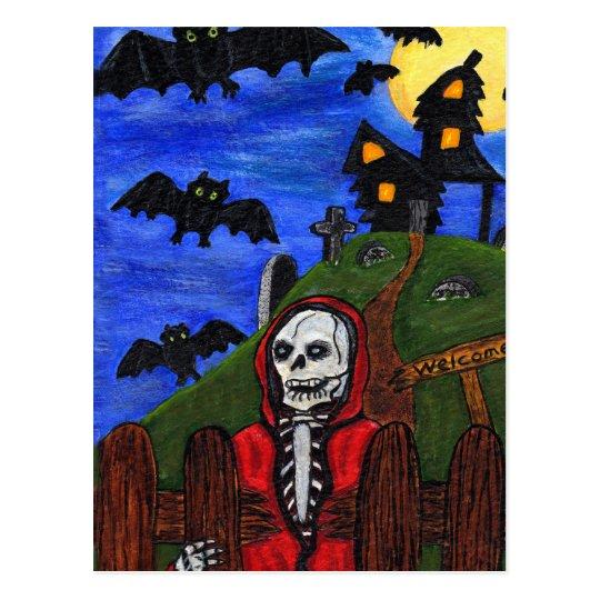 Grim Reaper Skeleton Bats Cemetery Postcard