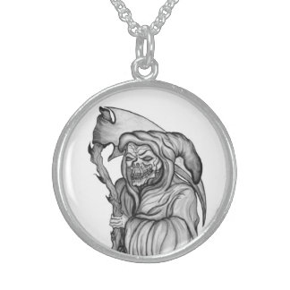 grim reaper - The Death Black and white design Sterling Silver Necklaces