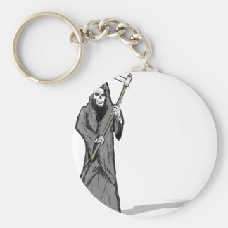 Grim Reaper Vector Sketch Basic Round Button Keychain