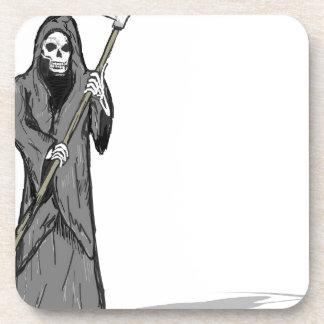 Grim Reaper Vector Sketch Beverage Coaster