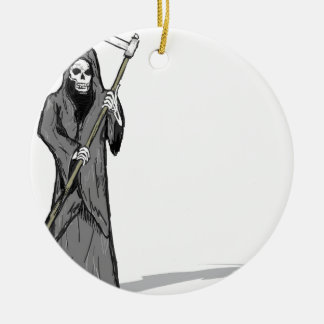Grim Reaper Vector Sketch Ceramic Ornament