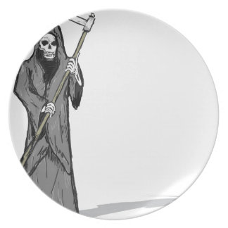 Grim Reaper Vector Sketch Dinner Plate