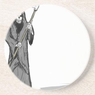 Grim Reaper Vector Sketch Drink Coaster
