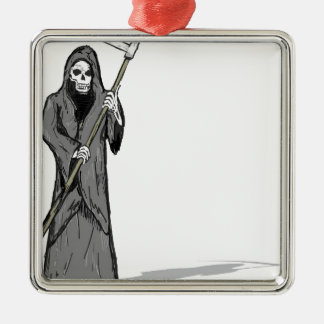 Grim Reaper Vector Sketch Metal Ornament