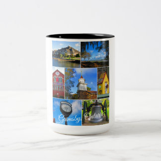 Grimsby Ontario Collage Two-Tone Coffee Mug