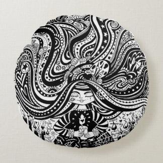 Grincheux Angel Wishes, Round black & white Pillow