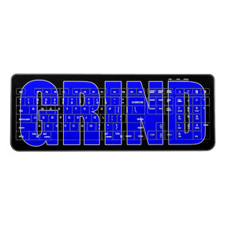Grind Black & Blue Typographic Motivational Wireless Keyboard
