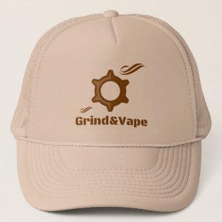 Grind&Vape Smoking Grinder Logo Design Trucker Hat