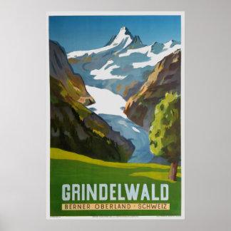 Grindelwald,Berner Oberland, Schweiz, Ski Poster