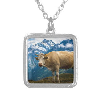 Grindelwald Cow - Bernese Alps - Switzerland Silver Plated Necklace