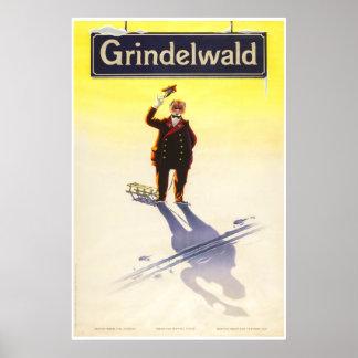 Grindelwald, Schweiz, Ski Travel Poster